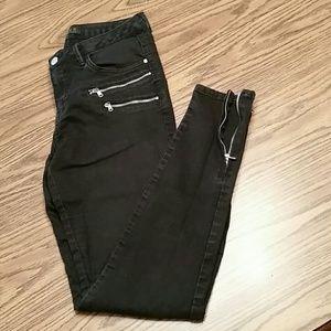Zara skinny leg ankle zip jeans, black, size 6